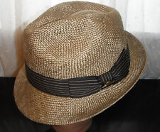 wholesale dealer ceb21 a038a TOMMY BAHAMA golden SHADEMAKER pinch front FEDORA Hat large DELUXE SISAL  STRAW