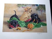 Black & Yellow Lab Puppy Christmas S/N Print Roger Cruwys 40 Limited to 2500