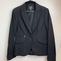 Adrianna Papell Womens Suit Blazer Blue Floral Peak Lapel Pockets Buttons 8 New
