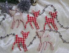 Weihnachten Streudeko Streuteile 5 x REHKITZ aus Filz in Rot / Rot Creme NEUHEIT