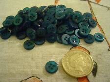 100 Peacock 4 hole buttons 8mm Sewing Craft Card Scrapbook