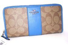 Coach Signature PVC Accordion Zip Around Wallet Khaki Lapis Blue F54630 NWT $250