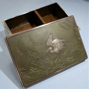 Japanese Sterling Silver & Mixed Metal Lacquered Box Stork Design Meiji Period