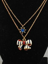 Betsey Johnson Goldtone Yacht Club Enamel Bow Crystal Flower Layer Necklace $38
