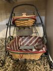 Longaberger Wrought Iron Holiday Stand w/ Tinsel & Silver Bells Baskets