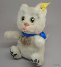 Steiff Ball Cat Sulla Dralon Plush 16cm 6in ID Button Tag 1960 -61 Glass Eyes