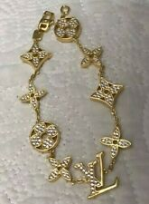 Vintage Louis Vuitton Sterling Silver Gold Monogram Idylle Blossom Bracelet