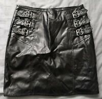 Boohoo Night Women's Black Faux Leather Buckle Skirt Size 8 Good Used Condition