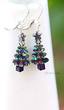 Christmas Tree mwith Swarovski Vitrail crystals Hematite Star Leverback earrings