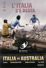 Italia V Australia 20 Nov 2010 programa Rugby Firenze