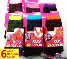 6 Pairs Women Heated Heat Thermal Socks UK 4-8 Winter Warm Work Boot Sock Random
