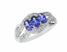 Natural Tanzanite and Diamonds 14k White Gold Three Stones Engagement Ring