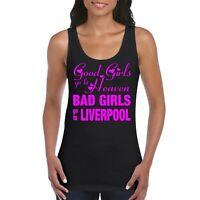 Liverpool Girls Women's Ladies Tank Top Vest T Shirt Black / Neon Pink