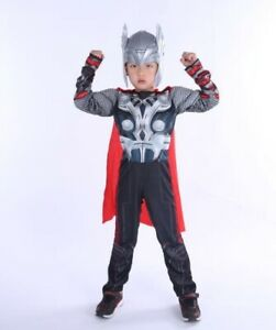 Thor Avengers Costume for Boys Children Costume new size S,M,L Mask + Cloak free
