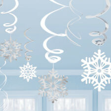 12 x Christmas Hanging Snowflake Swirls White Silver Party Decorations FREE P&P