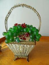 """Antique Czech Basket Lamp All original Great shade 11""""h"""