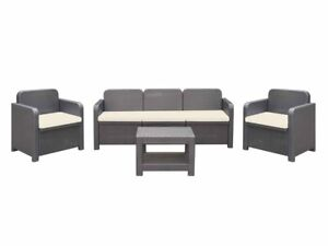 Italian Patio Furniture Set 2 Chairs, 3 Person Couch, Coffee Table Rattan Black