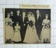 1957 Wedding Of Miss Jean Andrew, Penzance And Mr R Morris