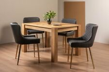 Blake Light Oak 4-6 Seater Dining Table & 4 Cezanne Dark Grey Faux Leather Chair