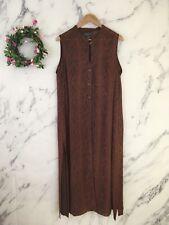 Lane Bryant Womens 18/20 Button Down Dress Sleeveless Sheer Slip Floral Keyhole