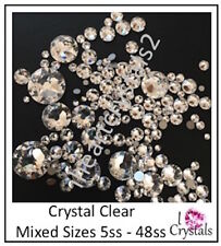 CRYSTAL CLEAR 5ss - 48ss 1.8mm - 11mm 144 pieces Mixed Sizes Swarovski Flatbacks