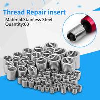 60pc Stainless Wire Screw Sleeve Thread Repair Insert Set M3 M4 M5 M6 M8 M10 M12