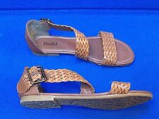 7.5 M MUDD Brown Ladies Shoes Sandals Woven Faux Leather Flats Buckle Strappy