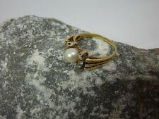 Vintage Ring / Damenring Perle & Brillanten 585 / 14kt Gold - 6x Brillant