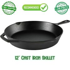 12 Inch Cast Iron Skillet Frying Oven With Handle Cooking Pre-Seasoned Cookware