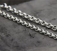 21.6 inch Pure 925 Sterling Silver Necklace 5mm Rolo Link Chain S925