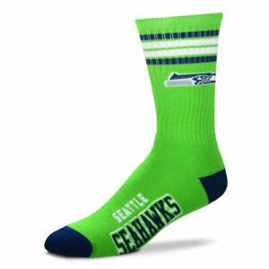 Seattle Seahawks Football Green 4 Stripe Deuce Crew Socks