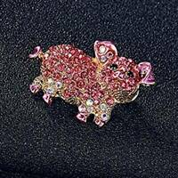 Rhinestone Crystal Animals Cute Pig Brooch Pin Badge Women Fashion Jewelry Gift