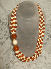 Vintage Bead Strand Necklace Acrylic Apple Juice Amber Cream Shades Mid Century
