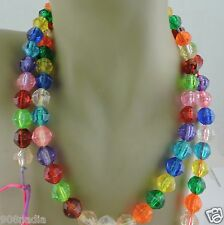 ANTIQUE PLASTIC NECKLACE FACETED PINK,ORANGE,GREEN,BLUE,RED,REPAIR,WEAR,CRAFT