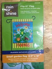 Rain Or Shine Small Garden Flag Welcome Friends Frogs Summer