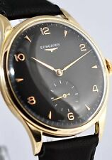 GENUINE SWISS LONGINES LARGE 18K SOLID GOLD MANUAL WIND GENTS WATCH BLACK DIAL