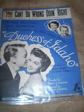 VINTAGE SHEET MUSIC,YOU CAN'T DO WRONG DOING RIGHT FROM FILM DUCHESS OF IDAHO