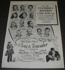 Print Ad 1945 MOVIE Release Promo A Song to Remember Paul Muni Merle Oberon.