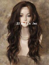 Heat OK Lace Front Wig Long Wavy Brown Auburn Mix sy 4-27-30