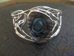 TAXCO MEXICO 925 CUFF BRACELET WITH ABALONE STONE (BRAND NEW) 30 GRAMS