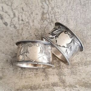 2 Antique Engraved Heart Leaves Napkin Rings Silver Plated Unpolished Aged Worn