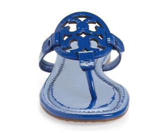 Tory Burch NEW Miller Nautical Blue Patent Leather Flat Sandals Sizes US 6.5 7.5