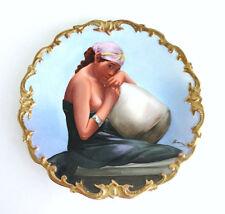 L. R. L. Limoges France Hand painted Porcelain Portrait Plate By Artist Baumy