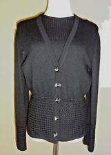 VTG Valentino Studio Black Wool Cardigan Twin Set Made in Italy size 40 (6 US)