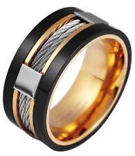 Akzent Ring Edelstahl in schwarz gold Edelstahlring Herrenring Herrenschmuck