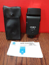 MINOLTA AUTO 128 ELECTROFLASH 128/132X with Case & Manual~FAST S/H~