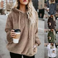 Ladies Warm Fleece Plus Size Pocket Sweatshirt Hoodies Womens Winter Jumper Tops