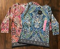 Rafaella Women's Paisley Print Tunic Top Blue or Pink NEW NWT $58.00