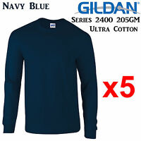 Gildan Long Sleeve T-SHIRT Navy Blue blank plain tee S-3XL Men's Ultra Cotton