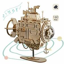 ROBOTIME 3D Wooden Puzzle Laser Cutting Submarine DIY Music Box Toy for Boy Teen